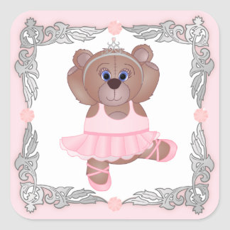 Cute Little Ballerina Cartoon Teddy Bear in Pink Square Sticker