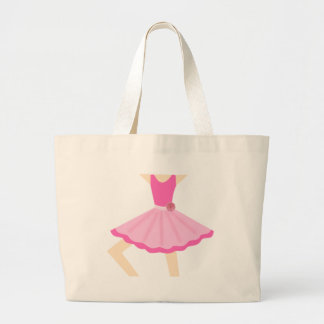 Cute Little Ballerina Girl in Pink Tutu Large Tote Bag