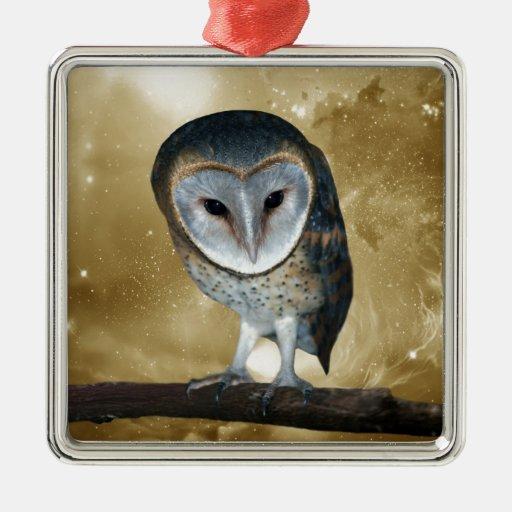 Cute little Barn Owl fantasy Christmas Tree Ornaments