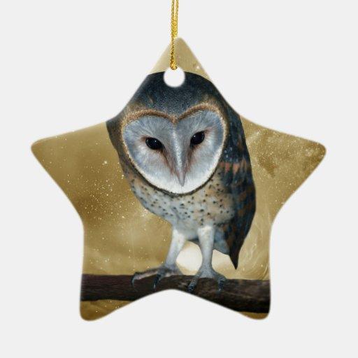 Cute little Barn Owl fantasy Ornament