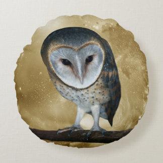 Cute little Barn Owl fantasy Round Pillow
