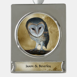 Cute little Barn Owl fantasy Silver Plated Banner Ornament