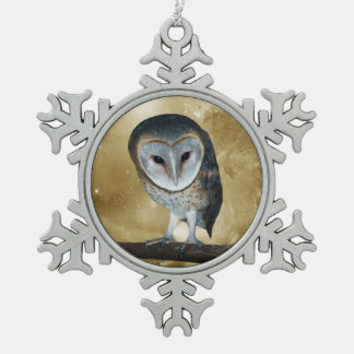 Cute little Barn Owl fantasy Snowflake Pewter Christmas Ornament