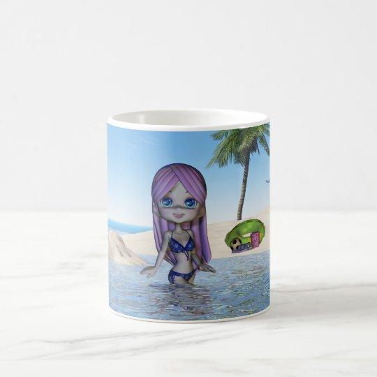 Cute little beach scenery mug with little girl