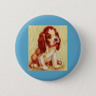 cute little beagle puppy pinback button