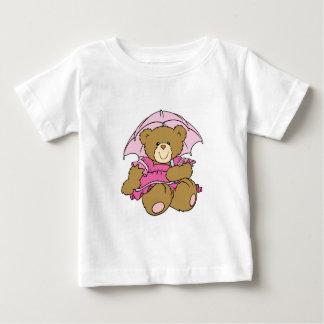 Cute Little Bear with Pink Umbrella Baby T-Shirt