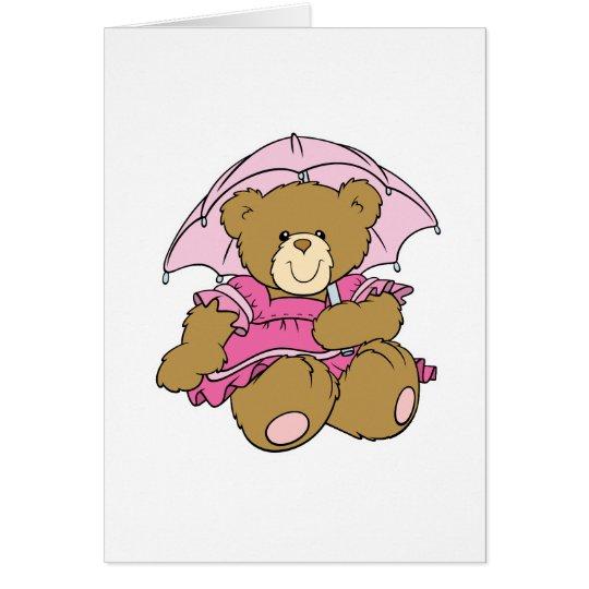Cute Little Bear with Pink Umbrella Card