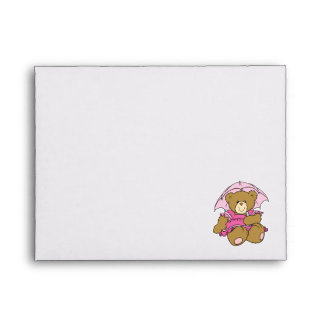 Cute Little Bear with Pink Umbrella Envelope