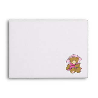 Cute Little Bear with Pink Umbrella Envelopes