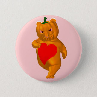Cute Little Bear With Pumpkin Head Pinback Button