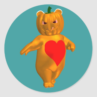 Cute Little Bear With Pumpkin Head Sticker