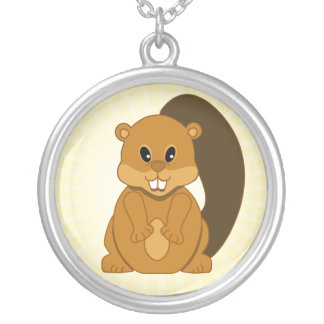 Cute Little Beaver Cartoon Animal Silver Plated Necklace