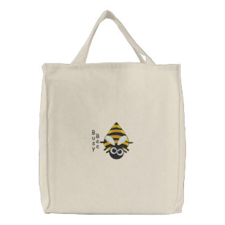 Cute Little Bee - Busy Bee Embroidery Pattern Embroidered Tote Bag
