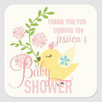 Cute Little Bird Flowers Spring Girl Baby Shower Square Sticker
