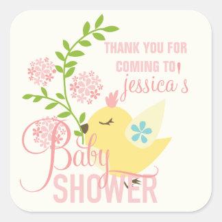 Cute Little Bird Flowers Spring Girl Baby Shower Square Sticker