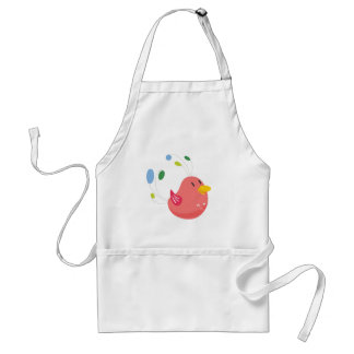 cute little bird flying and singing adult apron