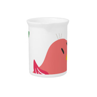 cute little bird flying and singing drink pitcher