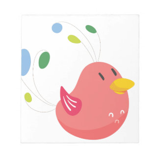 cute little bird flying and singing notepad