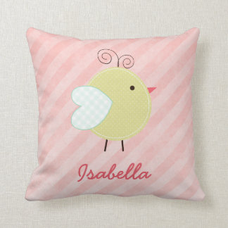 Cute Little Birdie Personalized Name Pillow