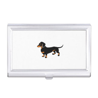 Cute Little Black and Tan Dachshund - Doxie Dog Business Card Case