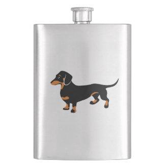 Cute Little Black and Tan Dachshund - Doxie Dog Hip Flask