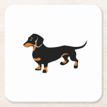 Cute Little Black and Tan Dachshund - Doxie Dog Square Paper Coaster