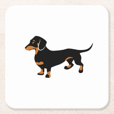 antiqueimages Cute Little Black and Tan Dachshund - Doxie Dog Square Paper Coaster