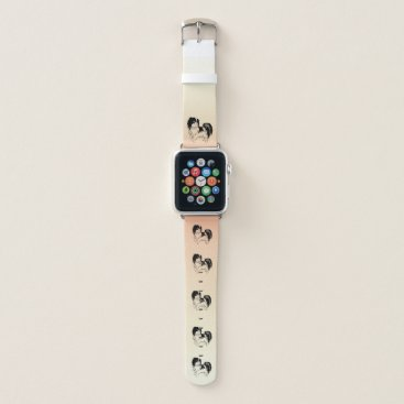 Beach Themed Cute Little Black and White Dog on Orange Yellow Apple Watch Band