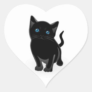Cute Little Black Cat Heart Sticker
