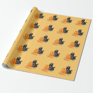 Cute Little Black Cat on a Pumpkin Gift Wrap Paper
