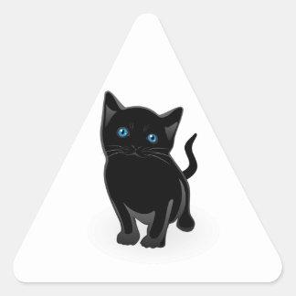 Cute Little Black Cat Triangle Sticker