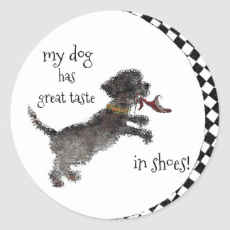 Cute Little Black Dog With Red Shoe Classic Round Sticker
