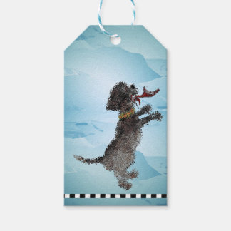 """""""Cute Little Black Dog With Red Shoe"""" Gift Tags"""