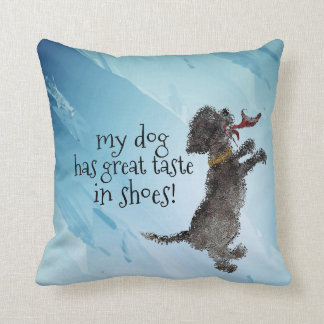 Cute Little Black Dog With Red Shoe Throw Pillow