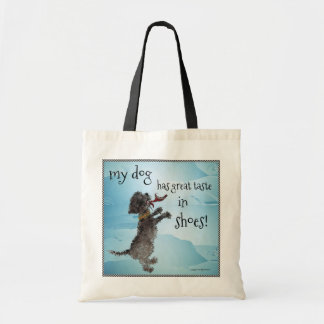 Cute Little Black Dog With Red Shoe Tote Bag