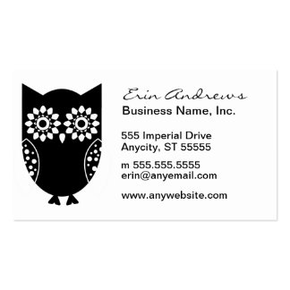 Cute Little Black Owl Double-Sided Standard Business Cards (Pack Of 100)