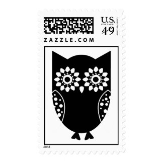 Cute Little Black Owl Postage Stamp