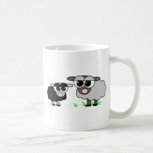 Cute Little Black Sheep and BigGray Sheep Coffee Mug