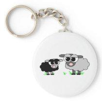 Cute Little Black Sheep and BigGray Sheep Keychain