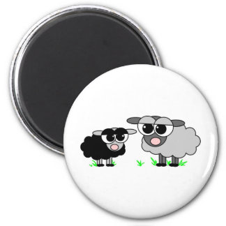 Cute Little Black Sheep and BigGray Sheep Magnet