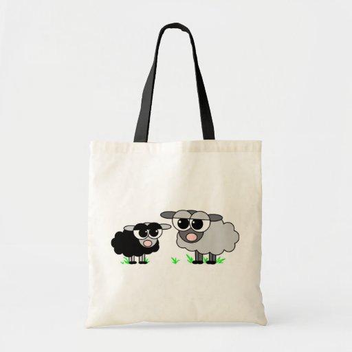 Cute Little Black Sheep and BigGray Sheep Tote Bag