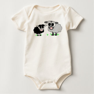 Cute Little Black Sheep & Big Gray Sheep Baby Bodysuit