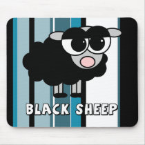 Cute Little Black Sheep Blue Stripes Mouse Pad