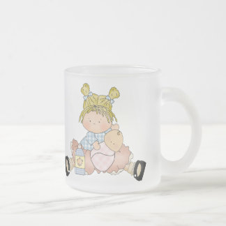 Cute Little Blonde Girl with Dolly Frosted Glass Coffee Mug
