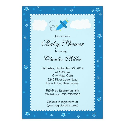Cute Little Blue Airplane Boy Baby Shower Card