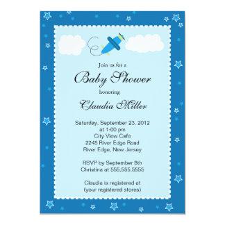 Cute Little Blue Airplane Boy Baby Shower 5x7 Paper Invitation Card