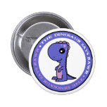 Cute Little Blue and Purple Dinosaur 2 Inch Round Button