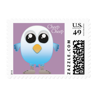 Cute little blue and white baby bird postage stamp
