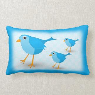 Cute Little Blue Bird Kids Lumbar Throw Pillows