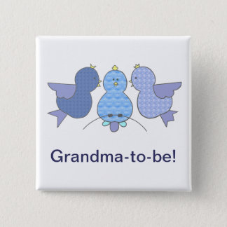 Cute Little Blue Grandma to be,  Birds Baby Shower Button